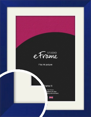 Royal Azure Blue Picture Frame & Mount, A4 (210x297mm) (VRMP-757-M-A4)