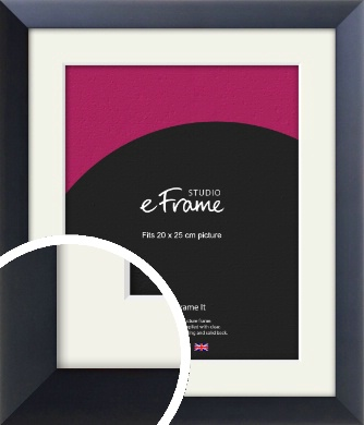 Simple Midnight Blue Picture Frame & Mount, 20x25cm (8x10