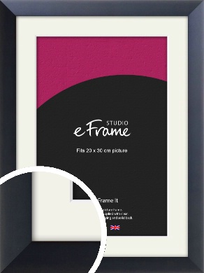 Simple Midnight Blue Picture Frame & Mount, 20x30cm (8x12
