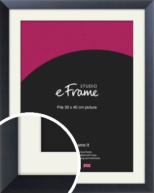 Simple Midnight Blue Picture Frame & Mount, 30x40cm (VRMP-766-M-30x40cm)