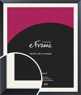 Simple Midnight Blue Picture Frame & Mount, 50x60cm (VRMP-766-M-50x60cm)