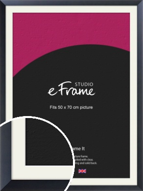 Simple Midnight Blue Picture Frame & Mount, 50x70cm (VRMP-766-M-50x70cm)