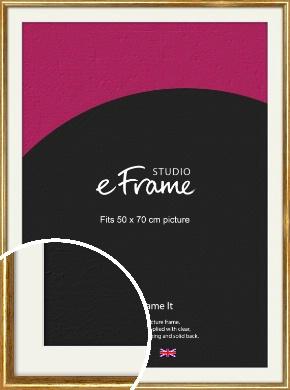 Antique Gold Picture Frame & Mount, 50x70cm (VRMP-124-M-50x70cm)