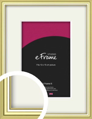 Contemporary Gold Picture Frame & Mount, 10x15cm (4x6