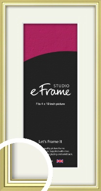 Contemporary Gold Picture Frame & Mount, 4x10