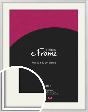 Curved & Stepped Silver Picture Frame & Mount, 30x40cm (VRMP-A040-M-30x40cm)