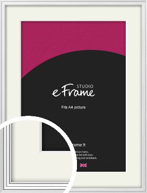Curved & Stepped Silver Picture Frame & Mount, A4 (210x297mm) (VRMP-A040-M-A4)