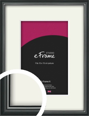 Polished Dark Black Picture Frame & Mount, 10x15cm (4x6