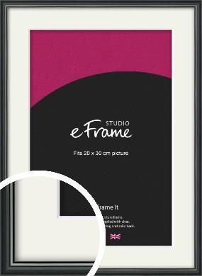 Polished Dark Black Picture Frame & Mount, 20x30cm (8x12