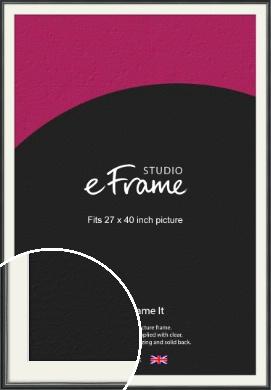 Polished Dark Black Picture Frame & Mount, 27x40