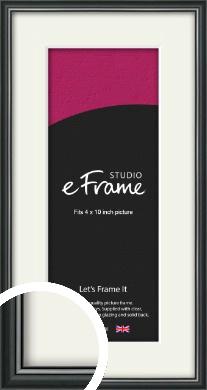 Polished Dark Black Picture Frame & Mount, 4x10