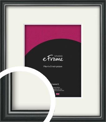 Polished Dark Black Picture Frame & Mount, 4x5