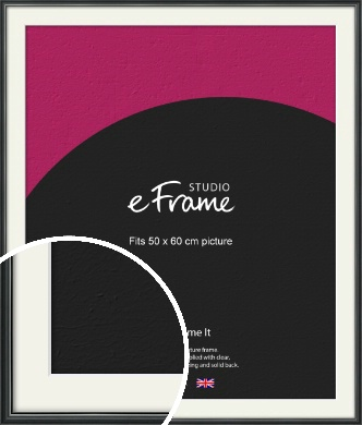 Polished Dark Black Picture Frame & Mount, 50x60cm (VRMP-A042-M-50x60cm)