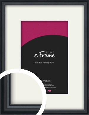 Narrow Modern Black Picture Frame & Mount, 10x15cm (4x6