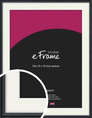 Narrow Modern Black Picture Frame & Mount, 12x16