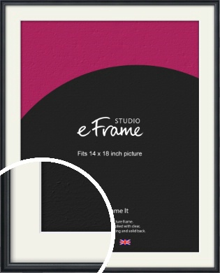 Narrow Modern Black Picture Frame & Mount, 14x18