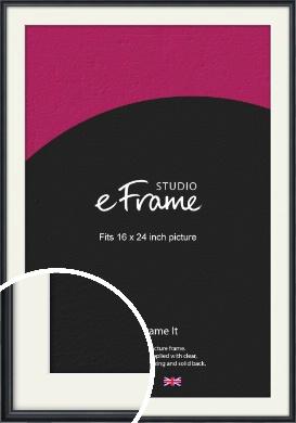 Narrow Modern Black Picture Frame & Mount, 16x24