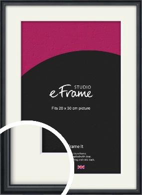 Narrow Modern Black Picture Frame & Mount, 20x30cm (8x12