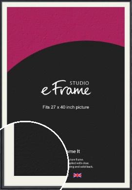 Narrow Modern Black Picture Frame & Mount, 27x40