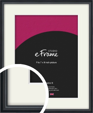 Narrow Modern Black Picture Frame & Mount, 7x9