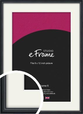 Narrow Modern Black Picture Frame & Mount, 8x12