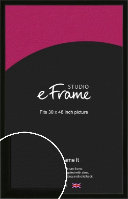Refined Linear High Gloss Black Picture Frame, 30x48
