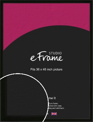 Refined Linear High Gloss Black Picture Frame, 36x48