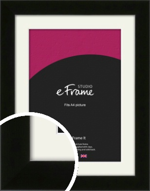 Refined Linear High Gloss Black Picture Frame & Mount, A4 (210x297mm) (VRMP-849-M-A4)