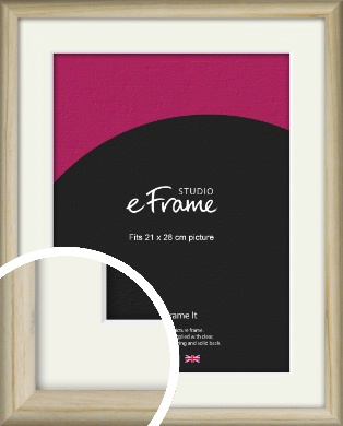 Rounded Rustic Natural Wood Picture Frame & Mount, 21x28cm (VRMP-862-M-21x28cm)
