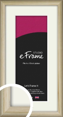 Rounded Rustic Natural Wood Picture Frame & Mount, 4x10
