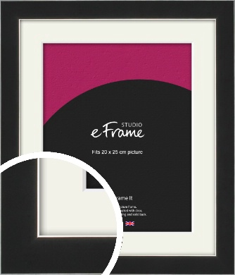 Straight Edge Onyx Black Picture Frame & Mount, 20x25cm (8x10
