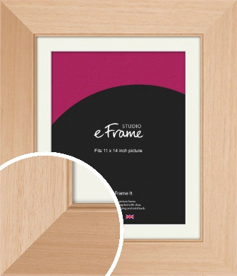 Brushed Natural Wood Picture Frame & Mount, 11x14