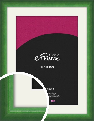 High Gloss Emerald Green Picture Frame & Mount, A4 (210x297mm) (VRMP-875-M-A4)