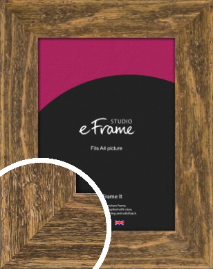 Wide Barnwood Effect Brown Picture Frame, A4 (210x297mm) (VRMP-879-A4)