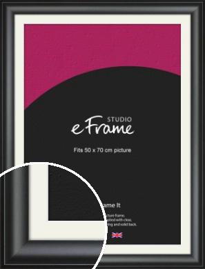 Luxury Scooped Black Picture Frame & Mount, 50x70cm (VRMP-884-M-50x70cm)
