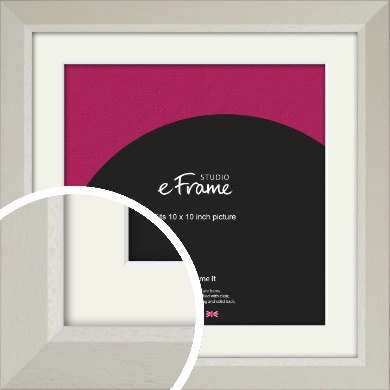 Wide Chamfered Natural Cream Picture Frame & Mount, 10x10