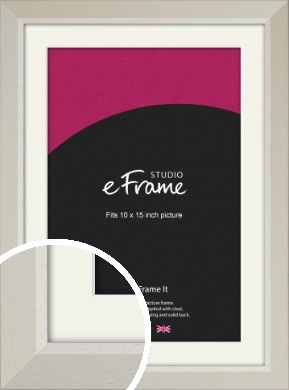 Wide Chamfered Natural Cream Picture Frame & Mount, 10x15