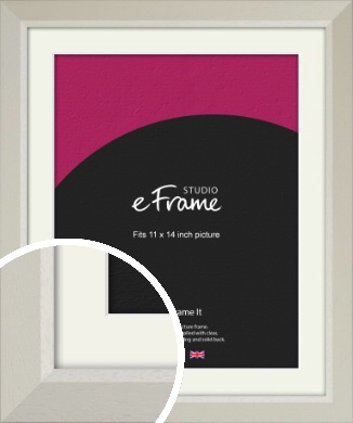 Wide Chamfered Natural Cream Picture Frame & Mount, 11x14