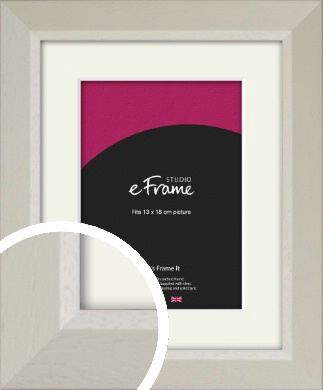 Wide Chamfered Natural Cream Picture Frame & Mount, 13x18cm (5x7
