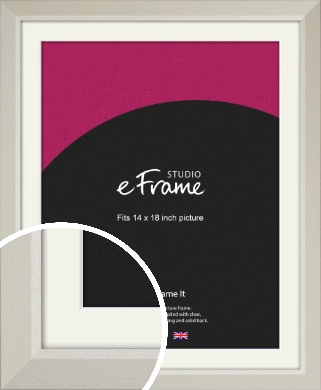 Wide Chamfered Natural Cream Picture Frame & Mount, 14x18