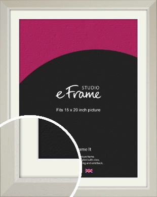 Wide Chamfered Natural Cream Picture Frame & Mount, 15x20