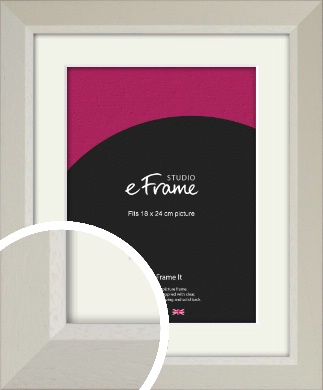 Wide Chamfered Natural Cream Picture Frame & Mount, 18x24cm (VRMP-889-M-18x24cm)