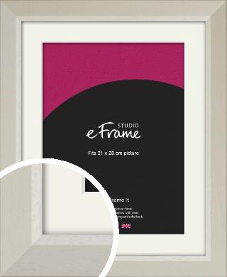 Wide Chamfered Natural Cream Picture Frame & Mount, 21x28cm (VRMP-889-M-21x28cm)