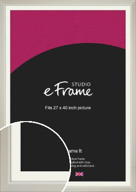 Wide Chamfered Natural Cream Picture Frame & Mount, 27x40