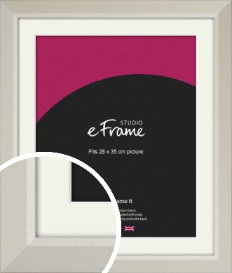 Wide Chamfered Natural Cream Picture Frame & Mount, 28x35cm (VRMP-889-M-28x35cm)