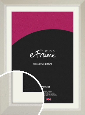 Wide Chamfered Natural Cream Picture Frame & Mount, A3Plus (VRMP-889-M-329x483mm)