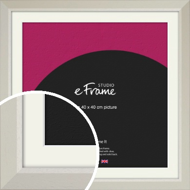 Wide Chamfered Natural Cream Picture Frame & Mount, 40x40cm (VRMP-889-M-40x40cm)