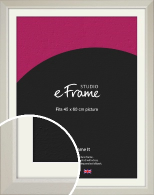 Wide Chamfered Natural Cream Picture Frame & Mount, 45x60cm (VRMP-889-M-45x60cm)
