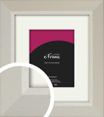 Wide Chamfered Natural Cream Picture Frame & Mount, 4x5
