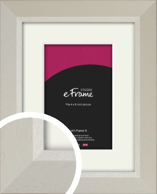 Wide Chamfered Natural Cream Picture Frame & Mount, 4x6